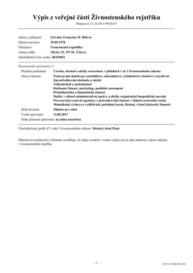 Extrait du registre du commerce Sylvaine Belova CZ